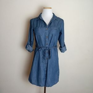 Noble U Denim Look Button Up Dress Size Small